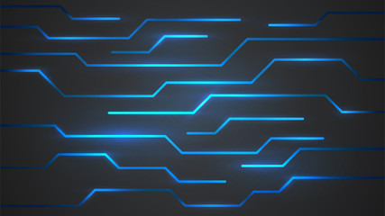Abstract background, surface with neon blue lines, technology