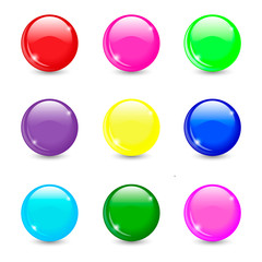 Collection of colorful glossy spheres isolated on white. Vector illustration for your design.