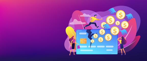 Businessman running on credit card and dollar coins with wings flying away. Overspending, financial stress cause, spend beyond the income concept. Header or footer banner template with copy space.