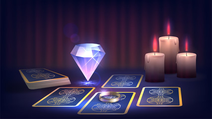 Tarot, candle, ring and magic cristall on the fortune-teller's table, prediction of the future, dark magic