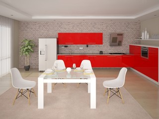 Mock up the perfect kitchen with perfect kitchen furniture and brick wall background.