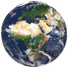 3D Realistic World Globe Europe Asia Africa Illustration