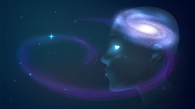 Meditation, mind, imagination. Human head on the background of space, the galaxy in the head
