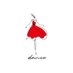 Dancing girl sketch, stylized ink silhouette on white background