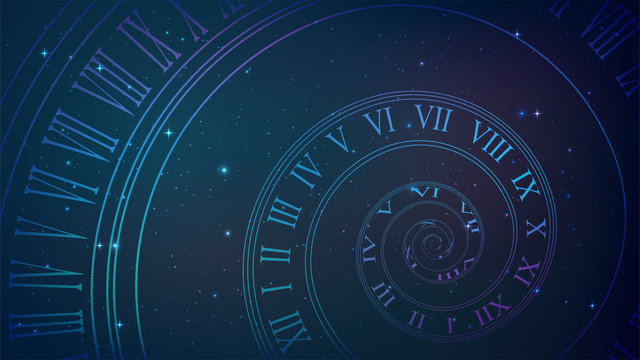 Background with spiral dial, clock in space. Time, eternity, universe metaphor