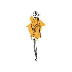 Woman art. Fashion model hand drawn sketch, stylized ink silhouette