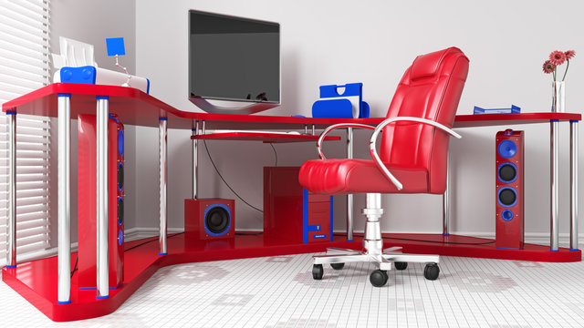 3D Rendering Modern Home Office Workplace