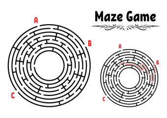 Abstract round maze. Game for kids. Puzzle for children. Labyrinth conundrum. Flat vector illustration isolated on white background. With answer. Vintage style