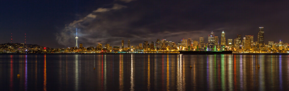 The skyline of Seattle - the most populous city in the Pacific Northwest - as seen just after the fourth of July fireworks show at Lake Union was over