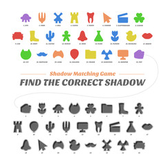 Shadow matcing game. Find the correct shapes. Worksheets for kids. Education vector basic silhouette school collection.