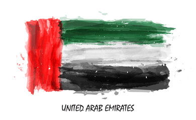 Realistic watercolor painting flag of United arab emirates ( UAE ) . Vector
