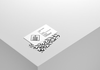 Two White Business Cards Mockup