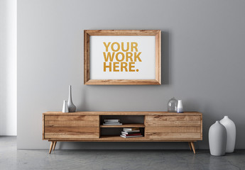 Horizontal Wooden Frame on Wall Mockup