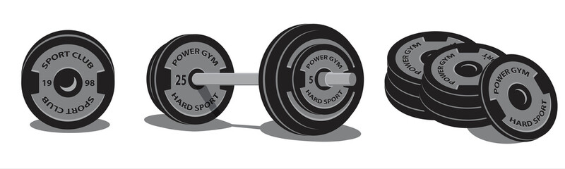 Weightlifting  barbell with sport discs for dumbbell. 3d style. .Vector illustration design.