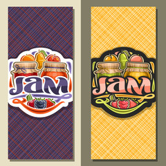 Vector banners for fruit Jam, flyer with 2 home made glass jars covered checkered fabric and tied bow, fresh cartoon fruits and berries, brush lettering for word jam and decorative colorful flourishes