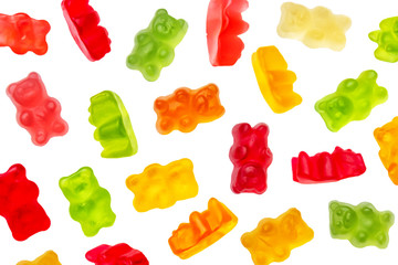 Colorful jelly candy gummy bears falling over white background. Red, green, orange and yellow colors.