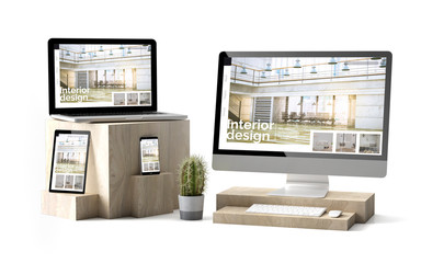 Wall Mural - wooden cubes devices isolated responsive interior design website