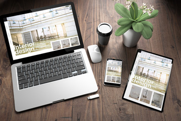 Wall Mural - three devices on wooden desk top view interior design website