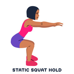 Static squat hold. Squat. Sport exersice. Silhouettes of woman doing exercise. Workout, training.
