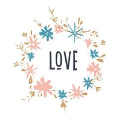 Cute hand drawn boho frame template. Pastel, wreath, flowers