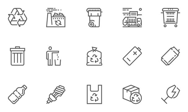 Garbage Vector Line Icons Set. Trash, Organic Waste, Plastic, Aluminium Can, Pollution, Recycle Plant. Editable Stroke. 48x48 Pixel Perfect.