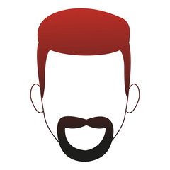 Young man faceless cartoon red lines