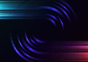 dark rainbow abstract circle background, digital overlap layer line, simple technology design template, vector illustration