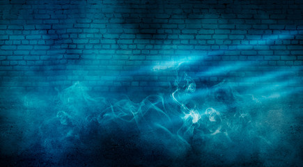 Background of empty dark room with brick walls, illuminated by neon blue lights with laser beams, smoke