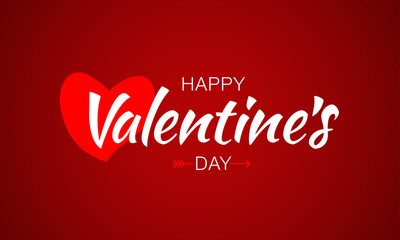 Happy Valentines Day Lettering. Typographic Red White Background With Heart and Arrow. Vector Illustration of a Valentine's Day Card.