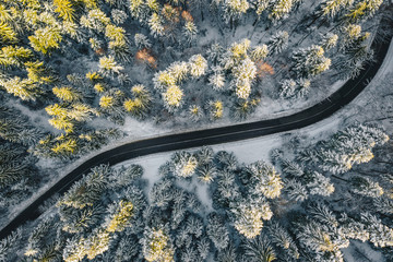 Top down view of a road after a heavy snowfall