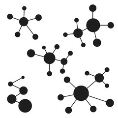 icon logo molecules, atomic structure of matter, vector design a logo for the lab, the structure of the molecule and the atom electrons