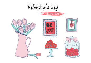 Valentine's day flat illustration with ink hand drawn sketch of  interior elements  in pale pink and light blue tender colors.
