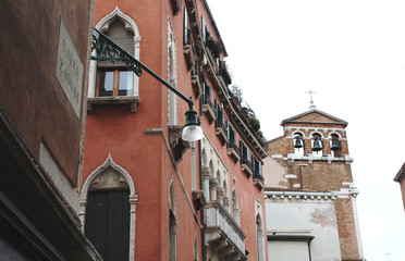 Venice / Italy - February 02 2018. Venetian architecture. Bell Tower.