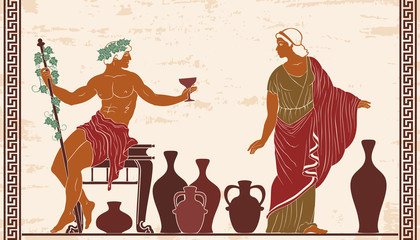 Heroes of ancient Greek myths Dionysus and Ariadne with jugs of wine.