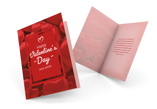 Valentine's Day Card Layout with Heart Pattern