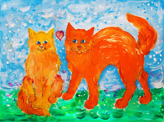Two colorful cats