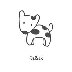 Handdrawn dog puppy illustration on white background