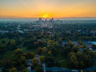Aerial photo of Denver skyline at sunset