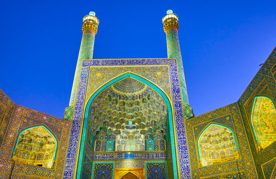 The tiled facade of Shah Mosque in Isfahan, Iran