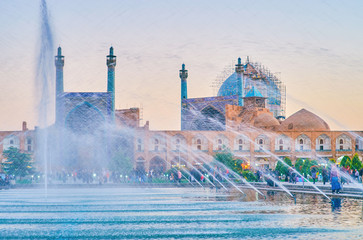 The view through the fountain in Isfahan, Iran