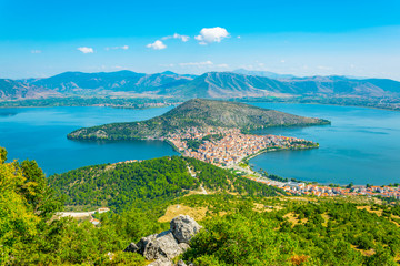 Aerial view of greek town Kastoria surrounded by Orestiada lake