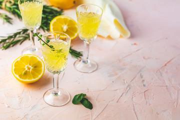 Traditional italian homemade lemon alcohol drink liqueur limoncell
