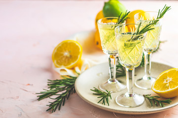 Traditional italian homemade lemon alcohol drink liqueur limoncell