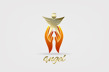Angel and hands logo icon vector