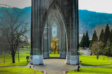 Color image of Cathedral Park under Portland, Oregon's Saint John's Bridge.