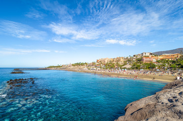Wall Mural - Landscape with El Duque beach at Costa Adeje. Tenerife, Canary Islands, Spain