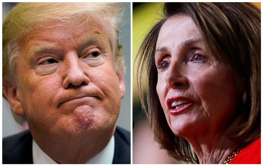 A combination photo shows U.S. President Trump speaking in Washington and U.S. House Speaker Pelosi addressing the crowd in Washington