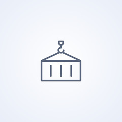 Container, industrial distribution import export, vector best gray line icon