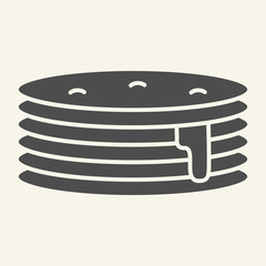 Pancakes with syrup solid icon. Breakfast vector illustration isolated on white. Sweet brunch glyph style design, designed for web and app. Eps 10.