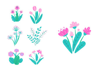 Spring garden flowers vector. Simple plant bouquet illustration. Fashion springtime nature elements isolated on white background in minimal style